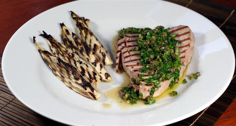 Grilled Chicory, Tuna and Salsa Verde
