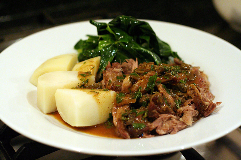 Roast Shoulder of Goat with Caper and Mint Gravy