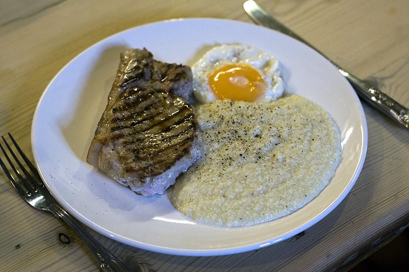 Pork Chop, One Egg and Grits