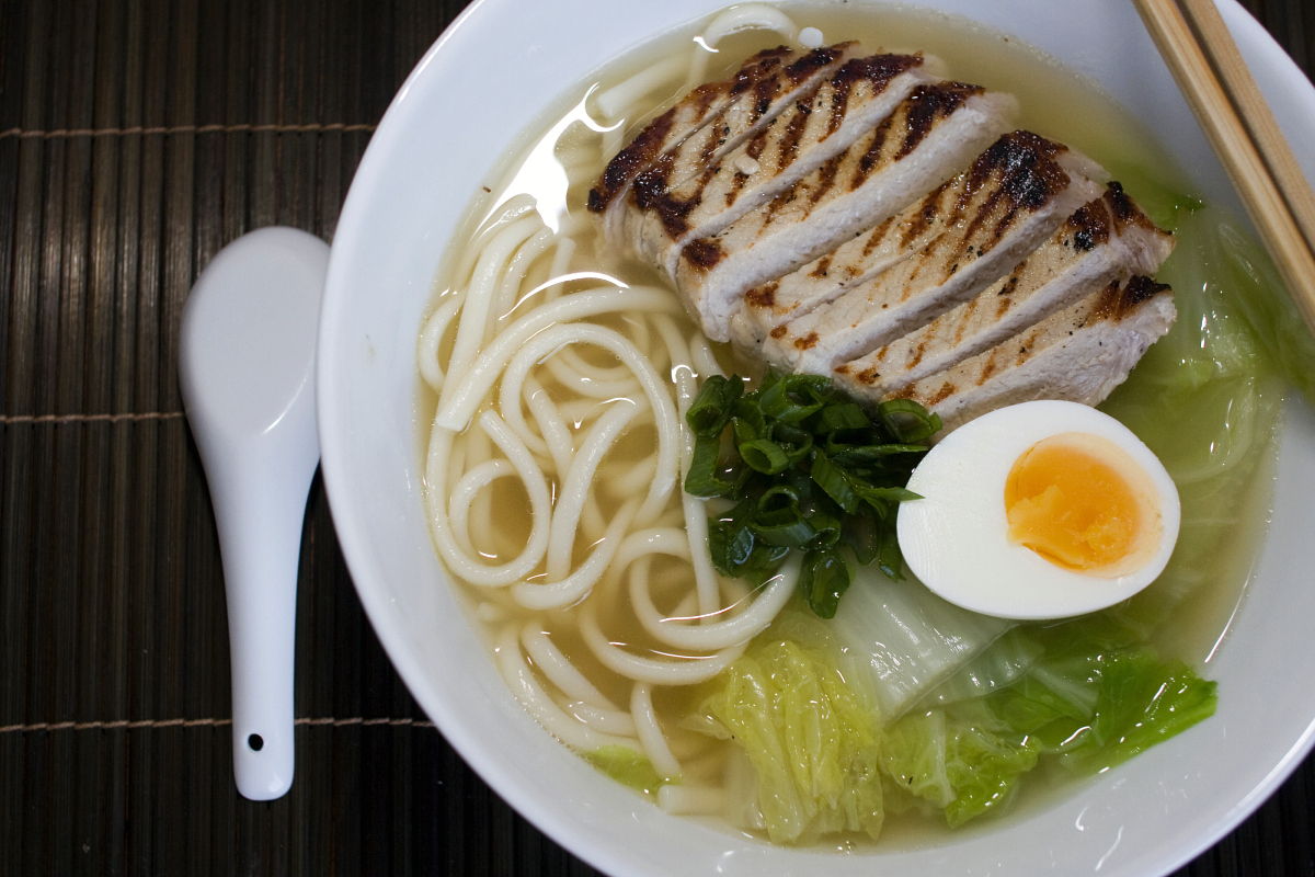 Grilled Pork and Chinese Leaf Udon Soup