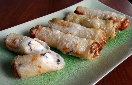 Deep Fried King Prawn and Roasted Garlic Spring Rolls