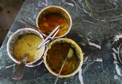 Sambar and chutneys
