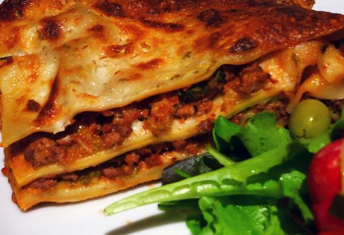 Italian Sausage, Savoy Cabbage and Gorgonzola Lasagna