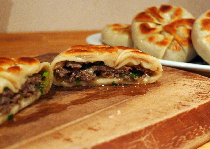 Inside Fried Beef and Spring Onion Buns